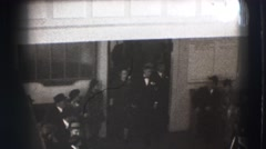 1941: three people exit building NEW YORK Stock Footage