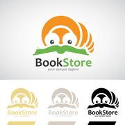 Book Worm Reading a Book Logo Icon Stock Illustration