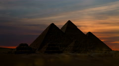 Timelapse. Sunet over the pyramid of Cheops. Giza Egypt Stock Footage