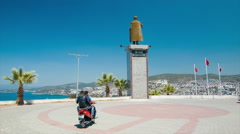 Kusadasi Turkey Ataturk Statue Overlooking City Stock Footage