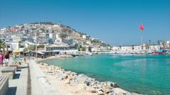 Kusadasi Turkey Oceanfront Tourism Scene Stock Footage