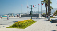 Kusadasi Turkey Seaside Ataturk Boulevard Stock Footage