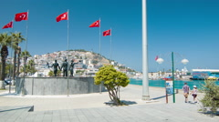Kusadasi Turkey Turkish Landmark on Ataturk Blvd Stock Footage