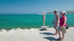 Kusadasi Turkey Visiting Tourists on Waterfront Stock Footage