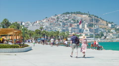 Kusadasi Turkey Visiting Foreigners on Seafront Parade Stock Footage