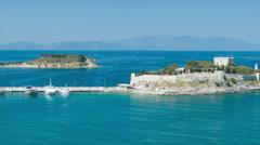 Kusadasi Turkey Byzantine Castle on Pigeon Island Stock Footage
