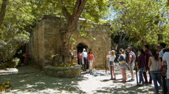 Tourists Enter Virgin Mary's House Stock Footage