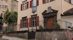 Ancient House in Swiss City Stock Footage