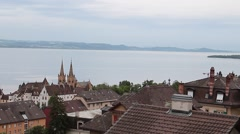 Neuchatel pan with Lake and Alps b.g. Stock Footage