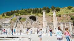 Selcuk Turkey Tourists Sightseeing Ancient Ephesus Stock Footage
