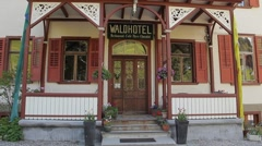 Bavarian type Hotel in Alps Stock Footage