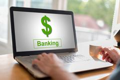 Banking concept on a laptop Stock Photos