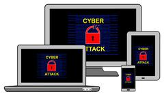 Cyber attack concept on different information technology devices Stock Illustration