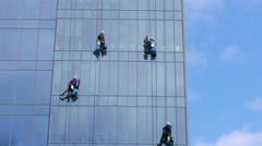 City Skyscraper Window Cleaners Stock Footage