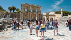 Selcuk Turkey Celsus Library in Ephesus Stock Footage