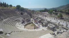 Selcuk Turkey Ephesus Tourists Inside Grand Stadium Theater Stock Footage