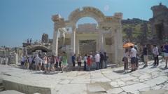Selcuk Turkey Tourists Sightseeing Ephesus Baths Stock Footage