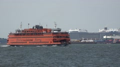 A Staten Island ferry (4k) in New York, United States. Stock Footage