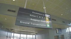 Washington DC Dulles Airport Terminal Signage Stock Footage