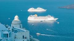 Cruise Ships in Santorini Greece Stock Footage