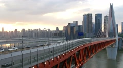 China Chongqing Qianximen twin river bridge cityscape sunset Stock Footage