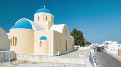 Santorini Greece Church Exterior in Oia Town Stock Footage