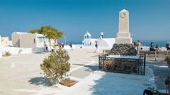 Santorini Greece Tourists Exploring Landmarks in Oia Stock Footage