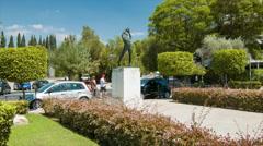 Athens Greece Landmark Olympian Statue Stock Footage