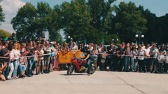 Stunt Moto Show. Extreme Motorsports. Bikers parade and show Stock Footage