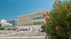 Athens Greece Greek Parliament Building Exterior Stock Footage
