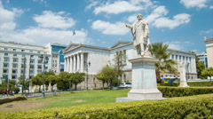 Athens Greece Landmark Statue at National Library Stock Footage