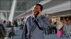 4K Goofy Business Man, Happy Person talks on Mobile Phone in Airport Stock Footage