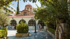 Athens Greece Agia Aikaterini Church Stock Footage