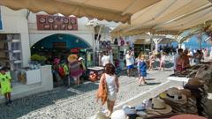 Santorini Greece Vibrant Shopping Street Scene Stock Footage