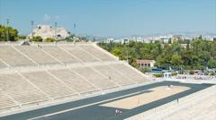 View Towards Acropolis Hill from Panathenaic Stadium in Athens Stock Footage