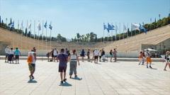 Athens Greece Panathenaic Stadium Wide Front Stock Footage