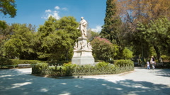 Athens Greece Statue in National Gardens Stock Footage