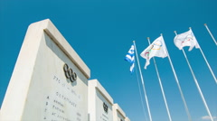Athens Greece Olympic Stadium Historic Info Stock Footage