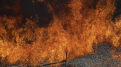 Large fire blaze Almond Branches Burn next to field flames slowed down Stock Footage
