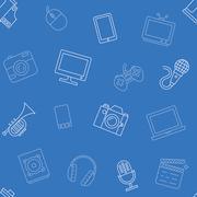Multimedia object pattern seamless Stock Illustration