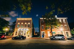 Buildings on Fairfax Street at night, in the Old Town of Alexandria, Virginia Stock Photos