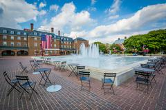 Fountains and City Hall, at Market Square, in Old Town, Alexandria, Virginia. Stock Photos