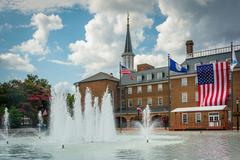 Fountains at Market Square, and City Hall, in Alexandria, Virginia. Stock Photos
