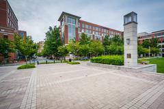 Open space at John Carlyle Square, in Alexandria, Virginia. Stock Photos