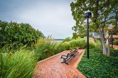 Walkway and benches in Alexandria, Virginia. Stock Photos
