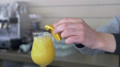 Different cocktails or longdrinks garnished with fruits Stock Footage