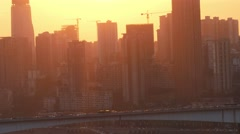 China Chongqing sunset city towers Stock Footage