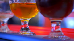 4K Hand Close Up, Beer Flight Glass, Brewery Ale Tasting Stock Footage