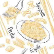 Seamless pattern set pasta with title. Farfalle, conchiglie, penne, fusilli a Stock Illustration