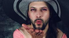 4k LGBT Shot of Transvestite Happy Man Dresses as Woman Kissing Stock Footage